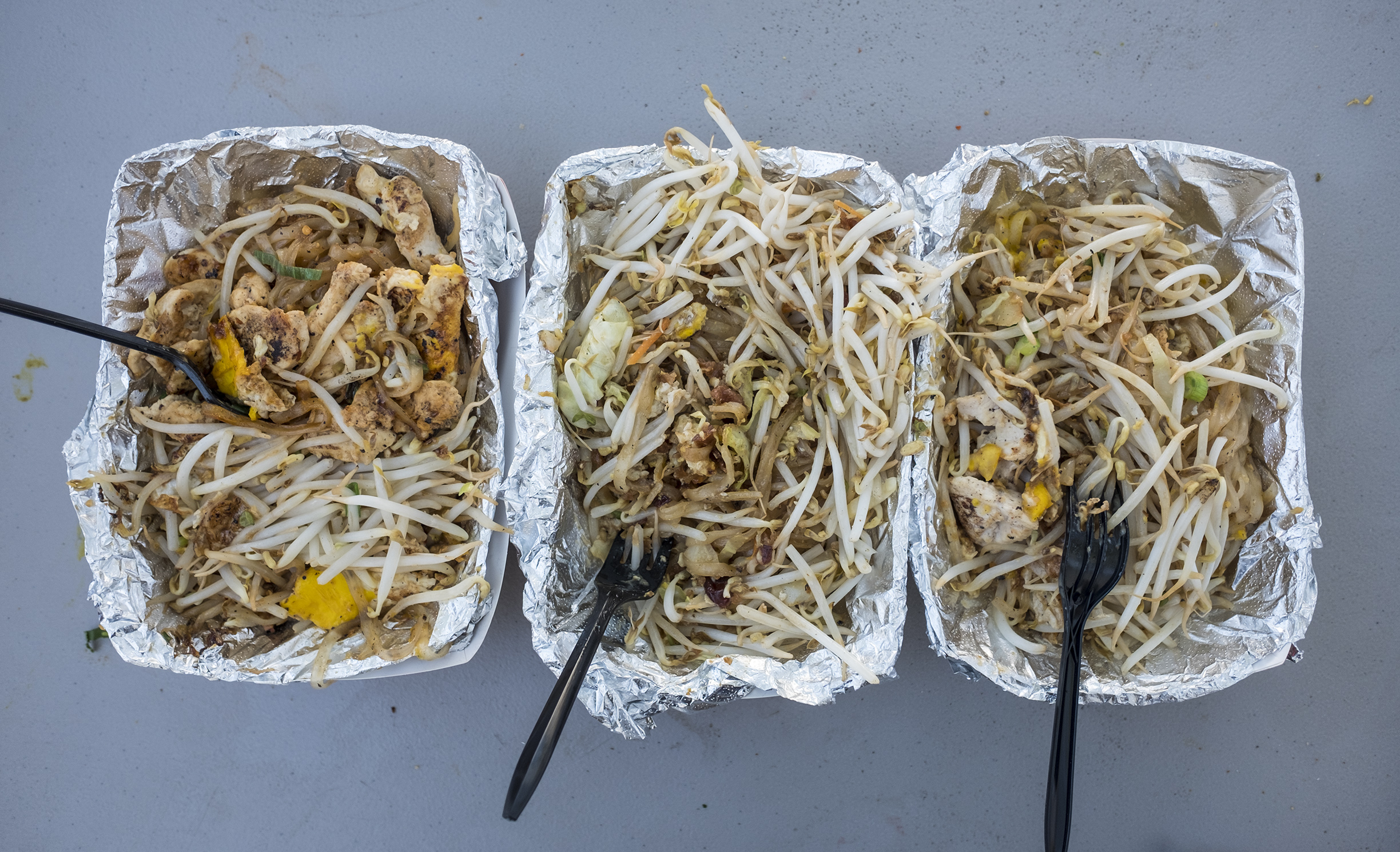 Three takes on Pad Thai (left to right: Chaiya, Ayutthaya, and Chiang-Mai).