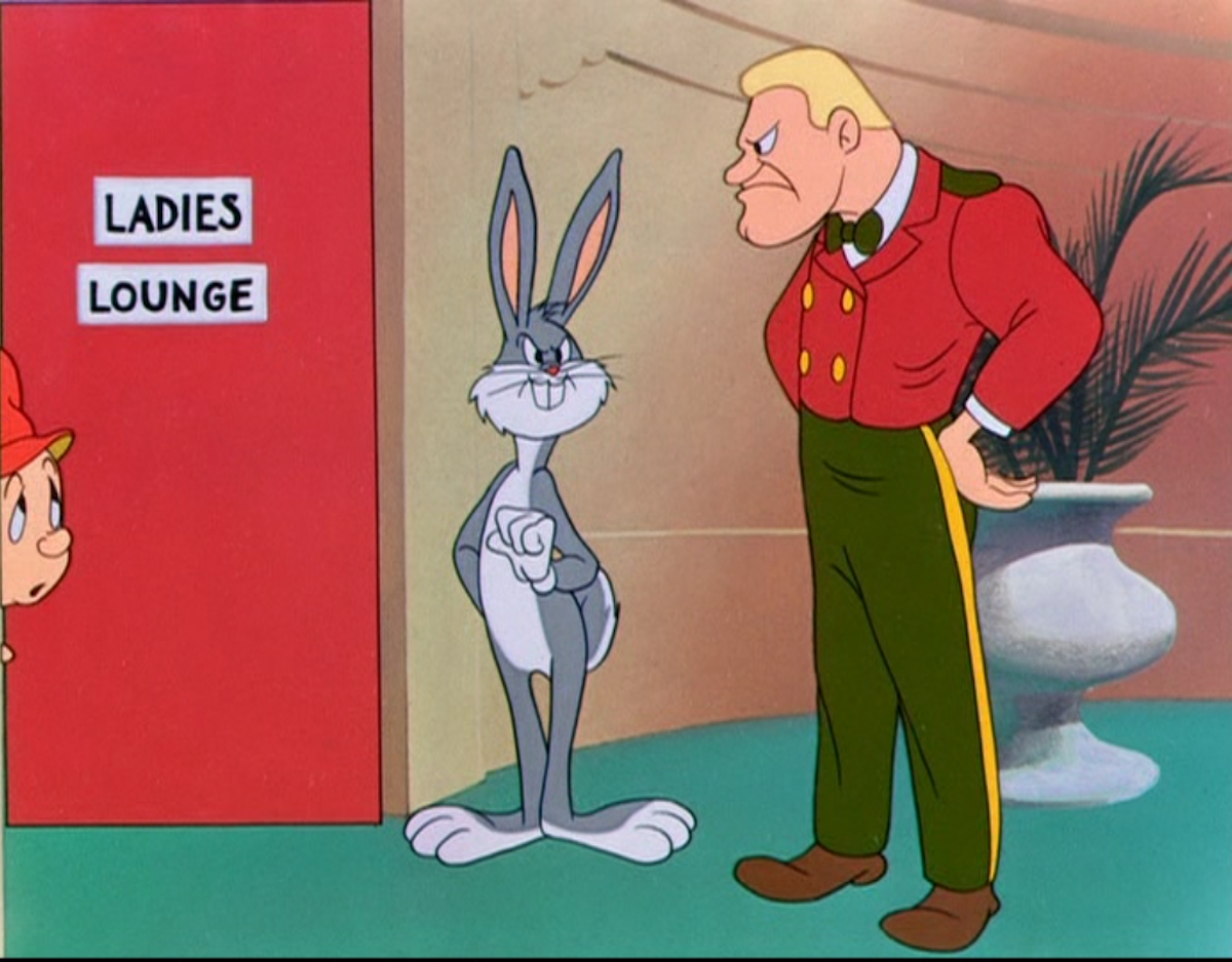 Transgender bathrooms in Hare Do (1949).