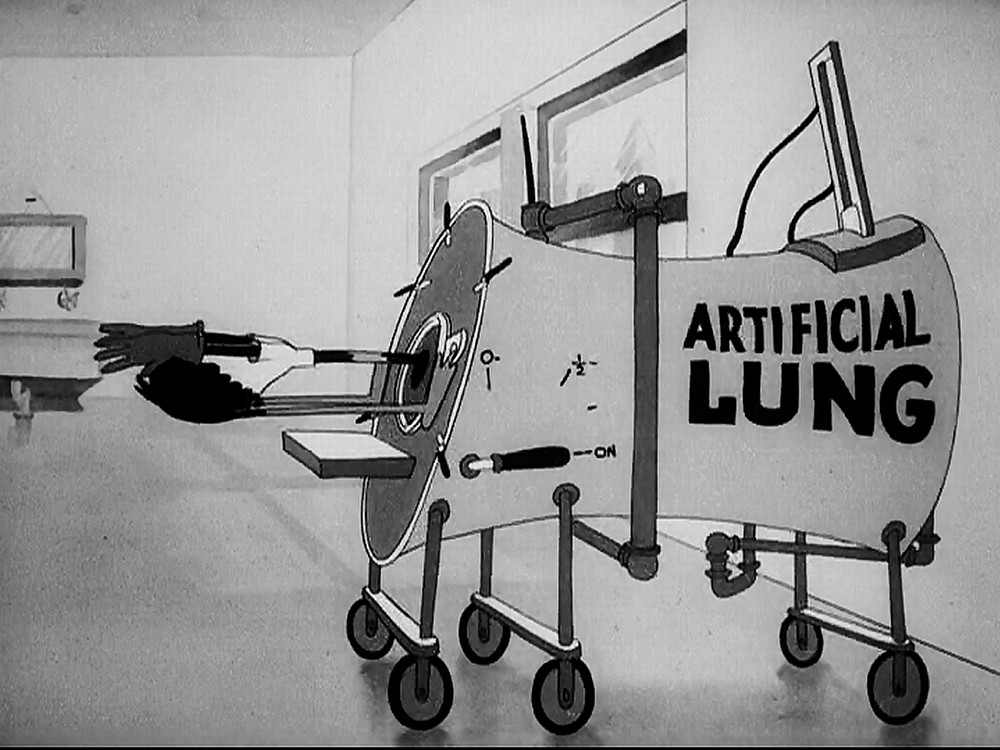 Artificial lung lampooning in The Daffy Doc (1938).