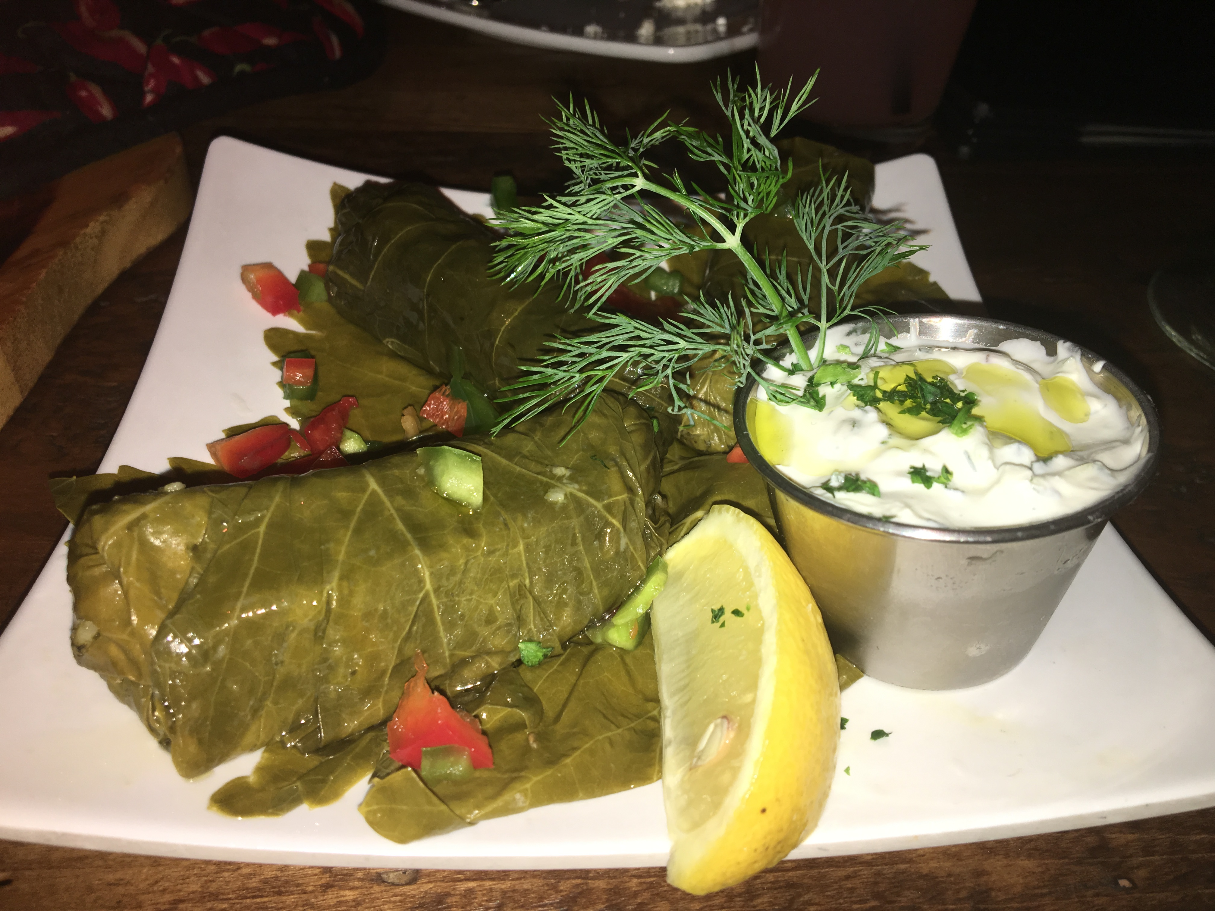 The dolmathes are grape leaves stuffed with rice and spices and have a nice lemony flavor.