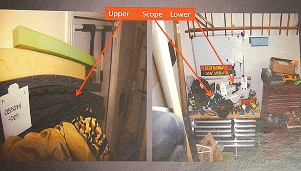 This evidence photo shows where the parts of McDavid's rifle were found in his garage.