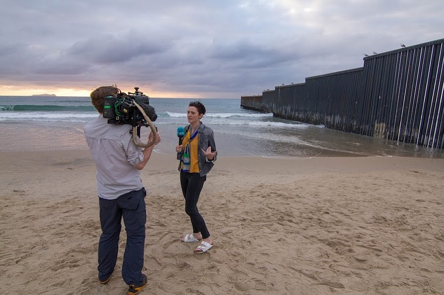 We ended the day filming at sunset on the western end of the border wall in Playas de Tijuana.