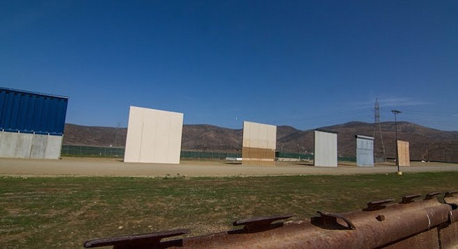 """The 30-foot-tall border-wall prototypes are in the Nido de las Águilas (""""eagle's nest"""") neighborhood."""