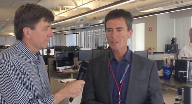 U-T enterprise editor Mark Platte interviewing editor Jeff Light