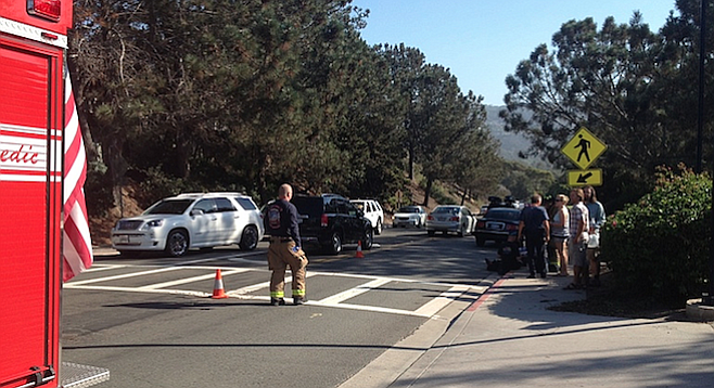 Accident scene on La Jolla Shores Drive