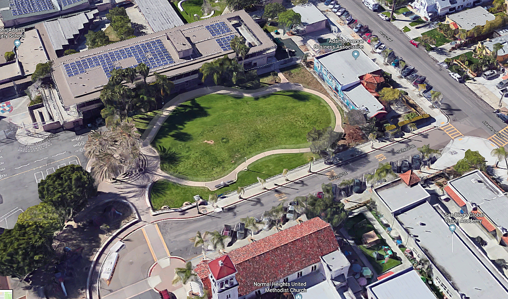 The pre-construction green space (School Street in foreground, Hawley Boulevard on the right)