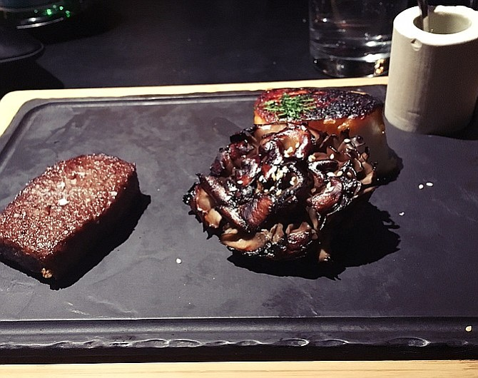 A5 Wagyu beef, along with fish, at Jean Georges Steakhouse.