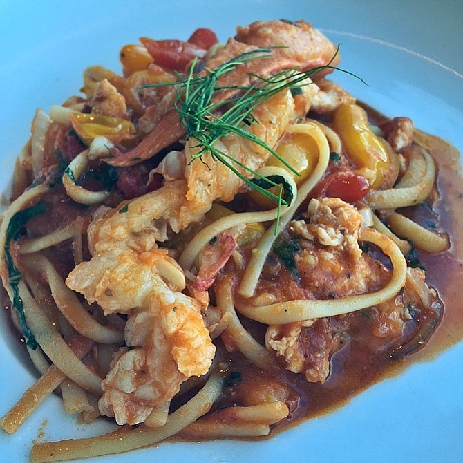 Lobster with pasta at Lago.