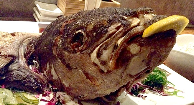 My yellowtail head. Kinda gruesome, kinda delicious.