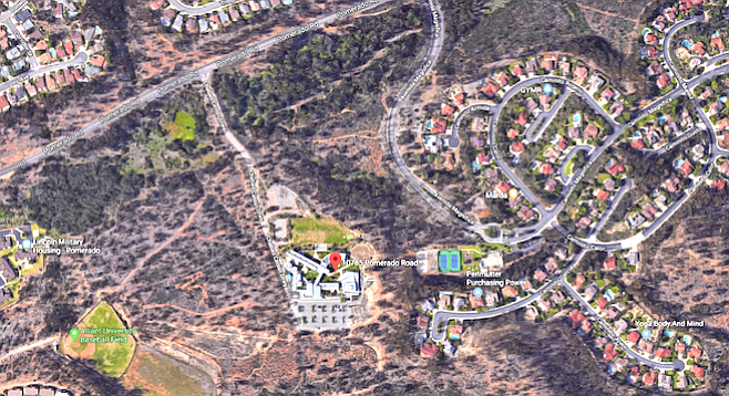 The pin marks Chabad's Campus of Life, south of Pomerado Road