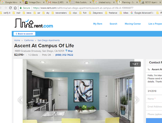 An ad on Rent.com (since updated) offered a one-bedroom apartment for $2016 a month.