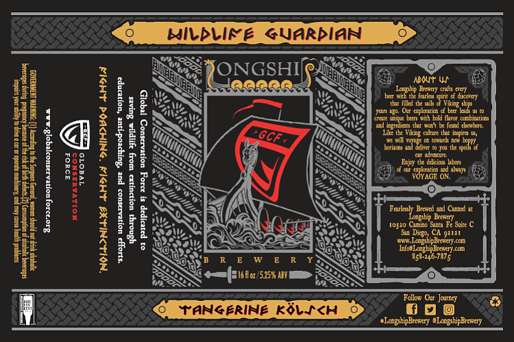 Label artwork for Longship Brewery's first canned beer release, Wildlife Guardian