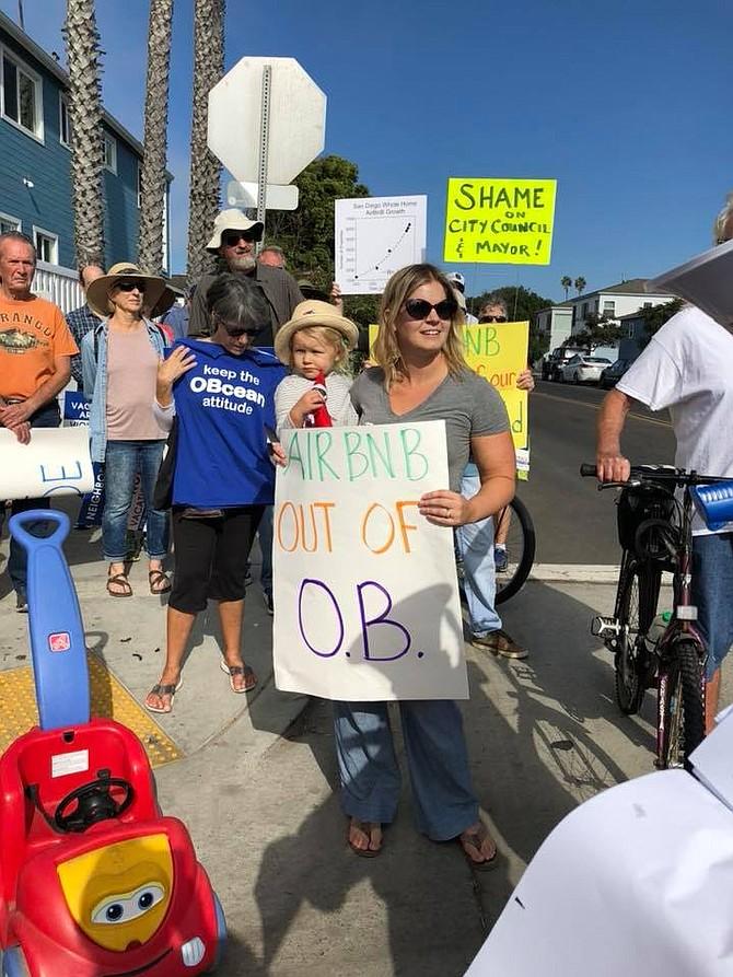 Protestors in Ocean Beach in a November (Save San Diego Neighborhoods)