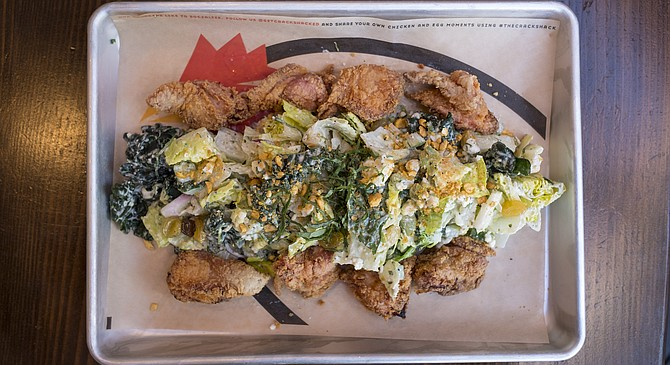 At Crack Shack, fried chicken oysters may be added to your chopped salad