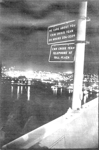 Coronado bridge. The average call to CRISIS Team is from a woman and lasts 20 minutes.