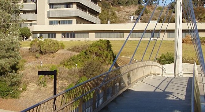 Pedestrian bridge — you have to climb several dozen stairs (or take a very slow elevator).