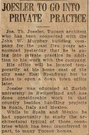 1932 clipping from Arizona touting Joesler's Spanish-style architecture.