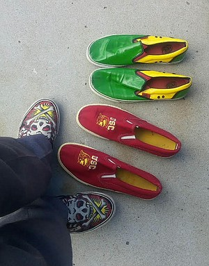 Johnny doesn't want to dirty his Ed Hardy-designed Vans sneakers.