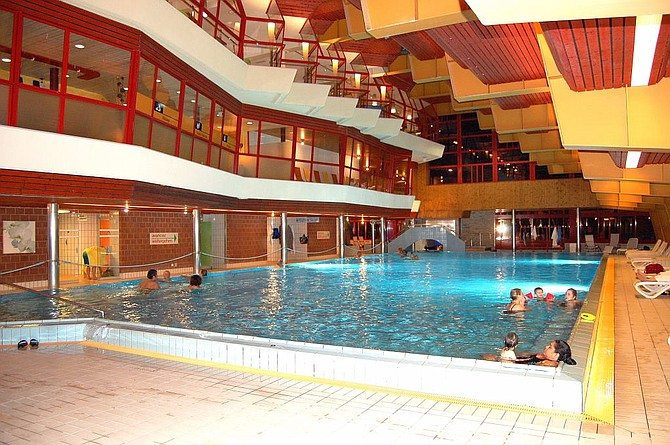 An indoor thermal pool at the extensive Leukerbad-Therme complex.