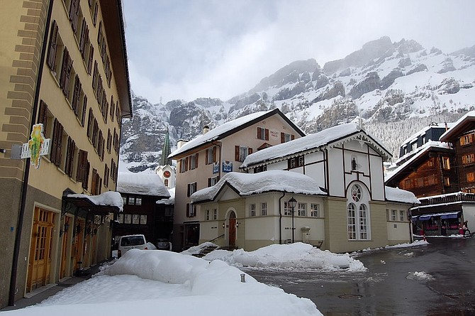 The charming village of Leukerbad, Switzerland's hot pools hamlet in the canton of Valais.