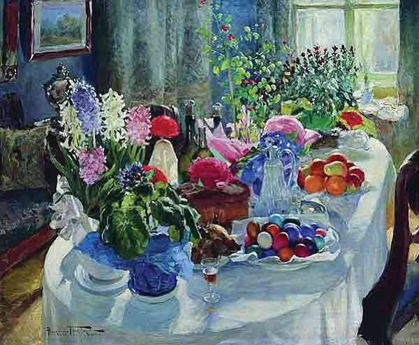 Is an Easter table like the one in this painting by Alexander Makovsky too much to ask?