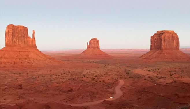 Photo op of the Mittens, Monument Valley's most famous (and photographed) buttes.