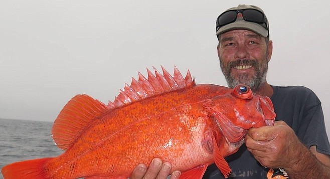Juan Cook with vermilion rockfish caught from pinnacle rock off Baja coast