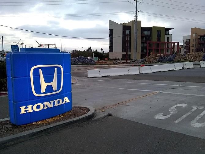 road closure outside Honda entrance