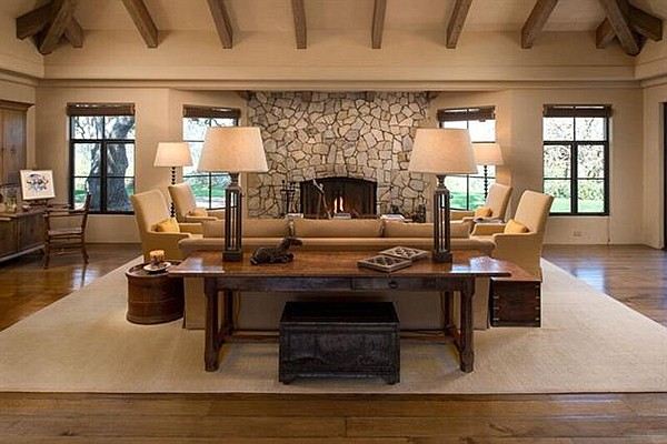 Palos Verdes stone fireplace in the living room