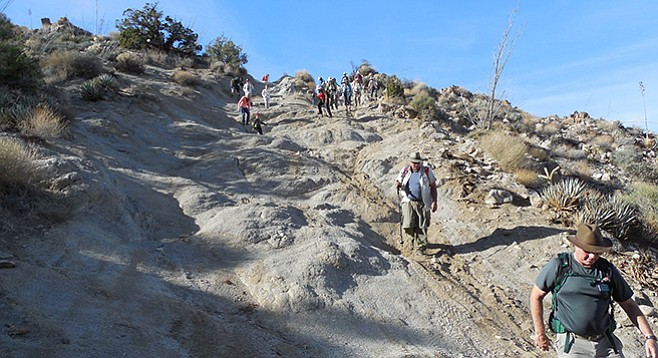 Heart Attack Hill, a steep eroded descent with rocky bumps and ruts
