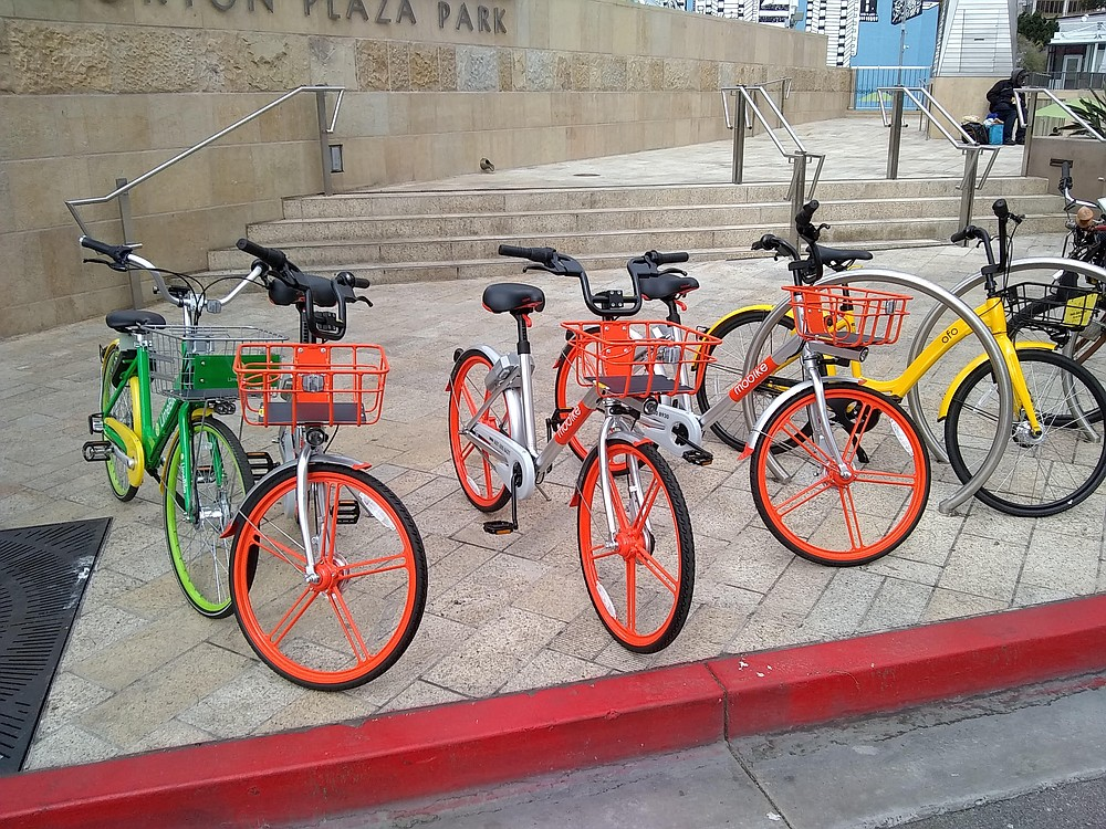 Dockless bikes near Horton Plaza