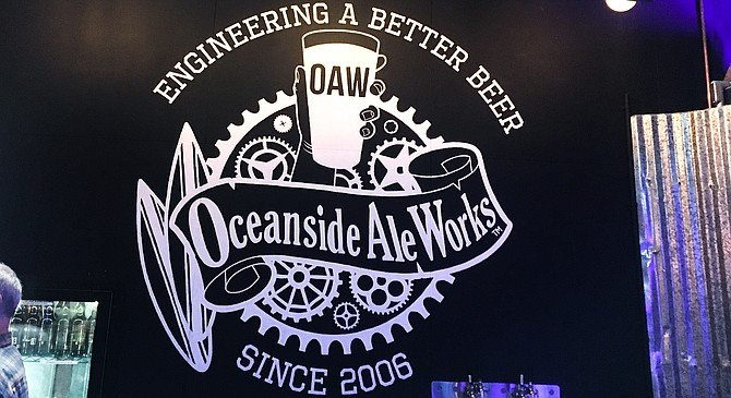 A mural in the newly reopened Oceanside Ale Works tasting room.