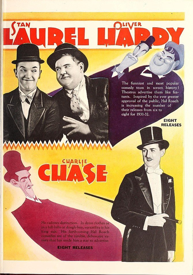 Trade ad ballyhooing Hal Roach's lineup of Laurel & Hardy and Charley Chase shorts for 1931. Motion Picture Herald, July 13, 1931.