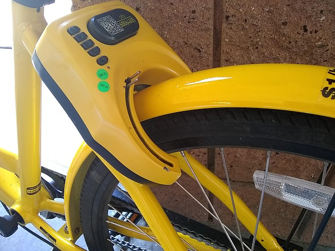 Broken locking mechanism on an ofo bike in El Cajon on March 28. The bike wasn't even showing up on the ofo app through gps.