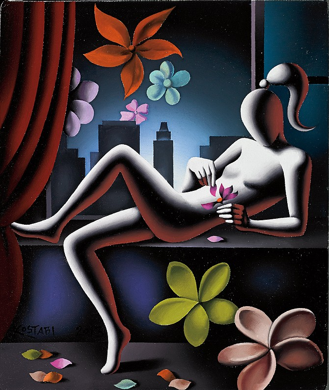 Mark Kostabi, Natural Selections, oil on canvas, 12 x 10 inches