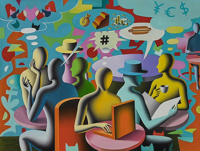 Mark Kostabi, Private Obsessions, Public Confessions, oil on canvas, 231/2 x 311/2 inches