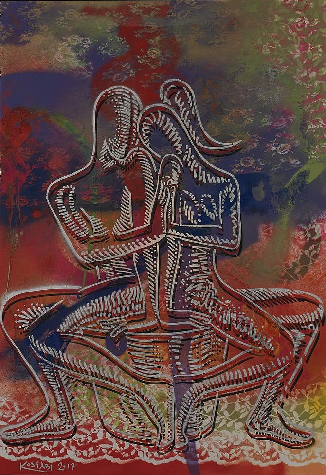 Mark Kostabi, Spring Awakening, mixed media on canvas, 44 x 301/2 inches