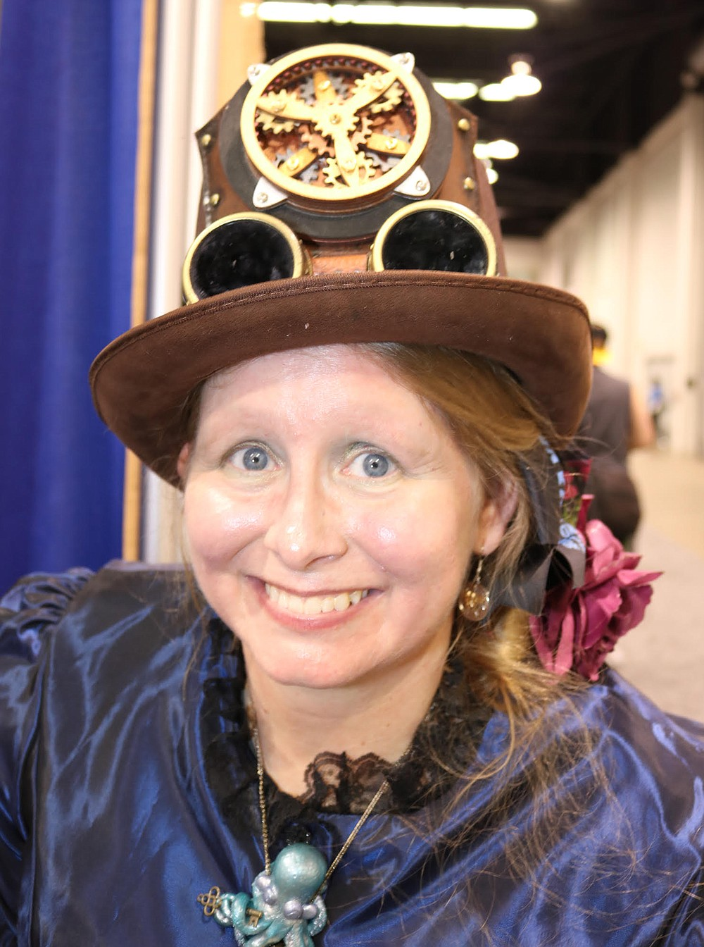 Anastasia Hunter drove up with friends to promote their Gaslight Expo steampunk gathering.