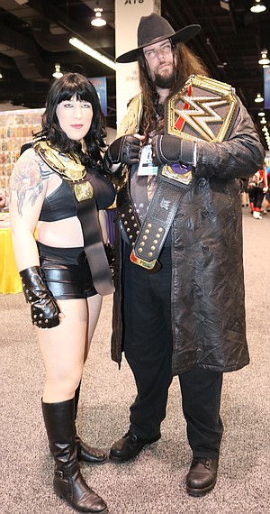 Kasia Celest Posey, left, cosplayed as the late Chyna, WWE wrestler.
