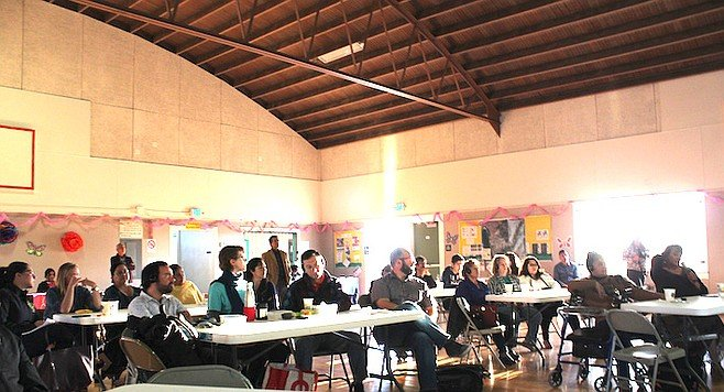 Residents gathered in San Ysidro on March 29 to hear results of the air pollution study.