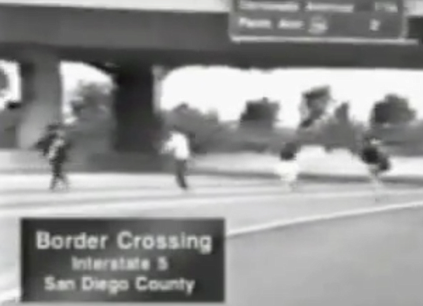 Immigrants crossing I-5 on foot near border — from the Prop 187 television spot.