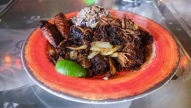 The vaca frita plate at Embargo Grill — with plantains