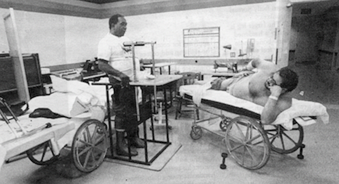 """Spinal Cord Injury unit gym.  """"You can roll, learn how to sit up, turn over."""" - Image by Dave Allen"""