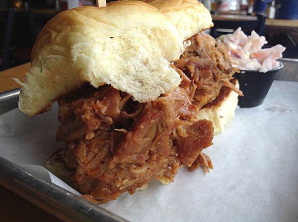 Happy hour pork sliders, $2