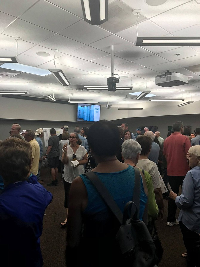 The April 10 event to discuss homeless housing in Clairemont had more than 200 people.