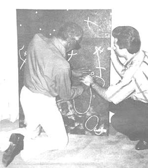 Lakey instructing Ray Charles