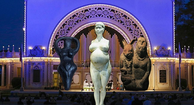 "Prior to the rites, worshippers paid homage to fertility symbols from various cultures, from ancient Sumeria to the more modern Cult of Celebrity. The central statue was a super-sized (but still perfectly proportional) rendition of LA artist Daniel Edwards' statue of pregnant Kim Kardashian. After disrobing and prostrating herself before the statue of Oester and her Rabbit Consort (right), 54-year-old North Park resident Elaine Pagan granted that she ""usually likes her Easter Bunnies on the cuter, more cuddly side, but I guess when you start celebrating leporine breeding capacity, you're dealing more with a wild hare up your…well."""