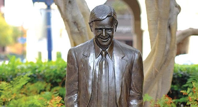 Pete Wilson statue in Horton Plaza.
