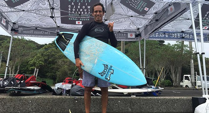 Ramirez in Hyuga, Japan while coaching and managing the Jr. Mexico National Surf Team.
