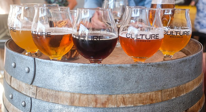 Left to right: hoppy wheat, blond ale, brown ale, tart cherry wit, and Mosaic IPA at the Culture Brewing Co. taproom, Encinitas.